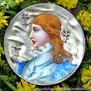 Antique German Enamel 900 Silver Joan of Arc Jugendstil Brooch