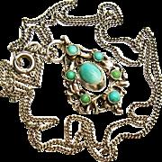 Antique Turquoise Dangle Drop Austro-Hungarian Silver Pendant Necklace