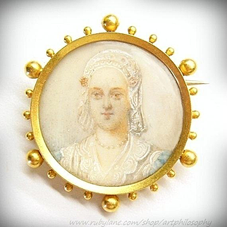 Antique French 18k Gold Queen Charlotte Miniature Brooch 1880's