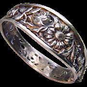 Antique French Silver Art Nouveau Pierced Floral Bracelet ca 1900