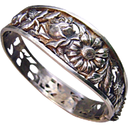 Antique French Silver Art Nouveau Pierced Floral Hinged Pierced Bangle Bracelet ca 1900 Fine Jewelry Maker's Mark Romantic Flowers