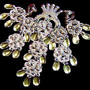 Solje Ivar T.Holt Filigree 830 Silver Gilt Dangle Brooch Earrings Norway Art
