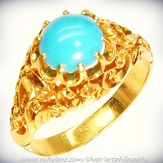 Antique 18k Gold Turquoise Cabochon Rose Cut Diamond Ring ca 1900 Edwardian Art Nouveau Fine Jewelry