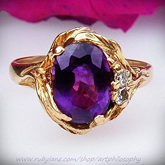 Arts and Crafts 14k Gold Outstanding Siberian Amethyst Gemstone Natural Diamond Lady's Ring Signed Fine Collectable Jewelry