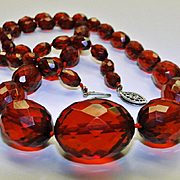 Antique Edwardian Cherry Amber Bakelite Graduating Faceted Bead Necklace Sterling Silver Clasp ca 1915 Art Jewelry
