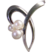 Saltwater Akoya Pearls Sterling Silver Brooch/Pin Japanese 1950's