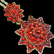 Antique Victorian Bohemian Rose Cut Garnet Pendant on Gilt Silver Chain ca 1890