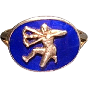 Rare 1820 Antique Georgian Neo-Classic Silver Royal Blue Enamel Sagittarius Zodiac Ring