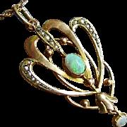 Antique Art Nouveau Opal Gem Pearl 9ct Gold Lavaliere Pendant Drop Dangle ca 1900 Edwardian Era Art Jewelry