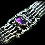 Rare Antique Gustav Hauber Sterling Silver Amethyst Jugendstil Bracelet ca 1905