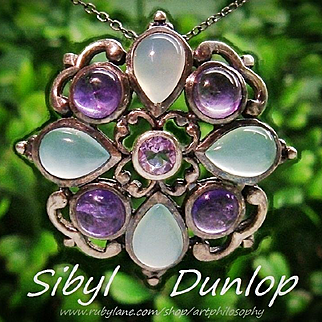 Arts And Crafts Sibyl Dunlop Sterling Silver Blue Chalcedony Amethyst Gemstone Cross Pendant England 1930s Fine Jewelry Museum Art Piece Chain Necklace