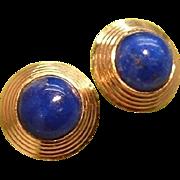 Art Deco 18k Gold Genuine Lapis Lazuli Jazz Earrings 1930