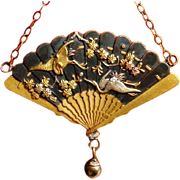 Antique Japanese Shakudo Fan Dangle Pendant Necklace Cooper Silver Gold Chain 1880's Asian Art Victorian Era Jewelry