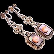 1920 Silver Filigree Angel Skin Coral Mother of Pearl Dangle Earrings Terrific!