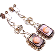 1920 Silver Filigree Angel Skin Coral Mother of Pearl Dangle Earrings Terrific!