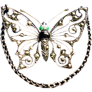 Antique Sterling Silver Marcasite Enamel Butterfly Brooch/Pendant Necklace ca 1915 Terrific !
