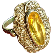 Art Deco Theodor Fahrner Sterling Silver Citrine Gemstone Ring 1930's