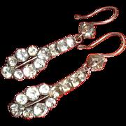 Antique Georgian Silver Paste Snake Head Dangle Earrings 18th Century