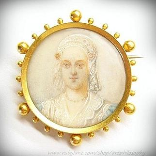 Antique French 18k Gold Queen Charlotte Miniature Brooch 1880's Victorian Era Art Jewelry