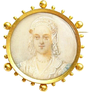 Antique French 18k Gold Queen Charlotte Miniature Brooch 1880's Victorian Era Art Jewelry