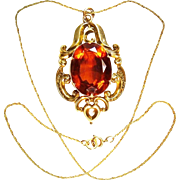 Antique Huge 18.60cts Madeira Citrine Pinchbeck Handmade Pendant Georgian ca 1840 Gilt Silver Chain Art Jewelry
