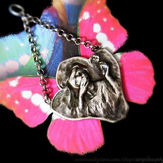 "Rare Antique French Victore Prouve Silver ""The Seagull"" Pendant Authenticity Certificate Art Nouveau Jewelry"