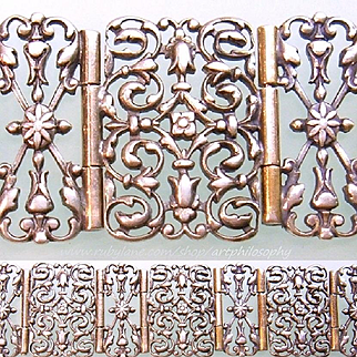 Antique French Silver Gothic Revival Debonair Bracelet 19th Century Medieval Art Victorian Era Fine Jewelry