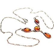 Fine Natural Amber Cabochons Silver Necklace Figaro Chain 1930's Art Jewelry