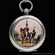 Rare Antique Swiss Enamel 935 Silver Famous Russian Hussar Hero Denis Davydov Pendant or Pocket Watch 19th Century Fine Jewelry