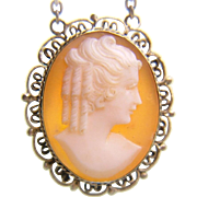 1930's Fine Silver Filigree Carved Shell Cameo Pendant Necklace Chain Art Deco Period