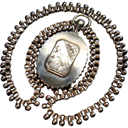 Antique Rare American Silver Book Chain Collar Necklace Japanism Aesthetic Movement Heron Pendant Locket Art Jewelry c.1890 Bookchain Victorian