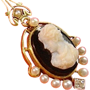 Antique 14k Gold Diamond Pearl Carved Onyx Cameo Mary Queen of Scots Lavaliere Pendant Chain Necklace Art Nouveau Edwardian c.1910