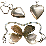 Large Sterling Silver Puffy Heart Lucky Clover Amulet Pendant Locket Fine 925 Chain Necklace Amazing Contemporary Art Jewelry