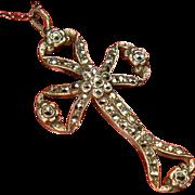 Antique Edwardian Sterling Silver Rose Cut Marcasites Cross Pendant Chain Necklace Fine Jewelry Religious Christian Art Nouveau Era Bell Epoque