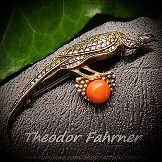 Art Deco Theodor Fahrner Peacock Bird Sterling Silver Natural Mediterranean Salmon Coral Marcasite Brooch 1926 Germany Fine Collectable Jewelry Jugendstil Silber