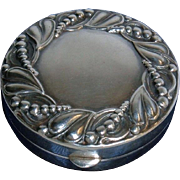Rare 1920's Charles Thomae Fine Sterling Silver Repousse Trinkets Box Case Art Nouveau American Signed Early Maker's Mark
