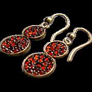 Antique Bohemian Genuine Garnet Gemstone Dangle Drop Earrings 14k Gold French Wires Edwardian Art Jewelry
