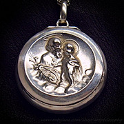 Antique Religious Amulet Talisman Christian Art Saint Anthony of Padua Child Jesus 19th Century Victorian Box Locket Repousee 800 Silver Pendant 925 Chain Necklace Fine Jewelry
