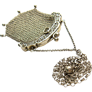 Antique 900 Silver Mesh Dangle Drop Purse Pendant Chain Necklace Victorian Edwardian Neo Classical Fine French Art Jewelry