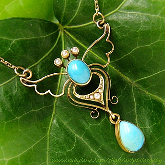 Antique 15k Gold Natural Sleeping Beauty Turquoise Gemstone Seed Pearl Lavaliere Pendant Chain Necklace Art Nouveau Edwardian Fine Jewelry ca 1900