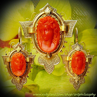 Antique 14k Gold Natural Undyed Mediterranean Precious Salmon Coral Carved Flora Cameo Set  Demiparure Earrings Pendant Victorian Art Red Orange Tomato