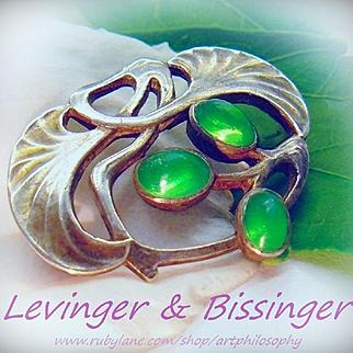 Antique Levinger and Bissinger Masterpiece Art Nouveau Jugendstil 900 Silver Paste Stones Brooch Pendant Pforzheim Germany Fine Collectable Jewelry