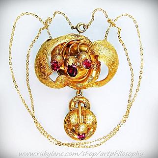 Rare Huge Antique 14k Gold Amethyst Garden of Eden Snake Engraved Pendant Necklace Chain c.1840 Fine Georgian Religious Art Jewelry
