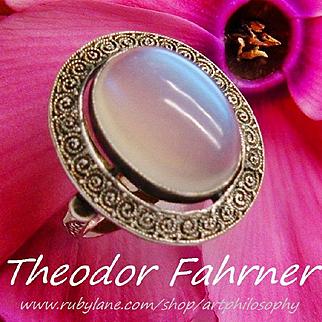 Theodor Fahrner Huge Moonstone 9.5 ct Gemstone Sterling Silver 925 Ring TF Gustav Braendle Fine Jewelry Pforzheim Germany Art Deco Jugendstil