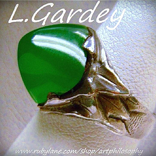 L.Gardey Art Nouveau Silver Chrysoprase Chalcedony Ring Antique French Fine Jewelry Rare Collectable