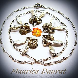 Important Antique Maurice Daurat  Silver Art Nouveau Necklace French Fine Jewelry Honey Bees Dance