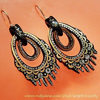 Antique Pique 14k Gold Silver Inlaid Earrings Rare Superb Condition Fine Handmade Victorian Art Jewelry Triple Hoop Dangle Hanging Gardens of Babylon