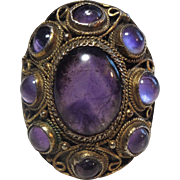 Beautiful Gilded Sterling Silver & Amethyst Chinese Ring
