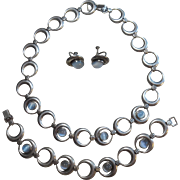 Gorgeous WRE Richards Sterling & Moonstone Bracelet & Necklace Set