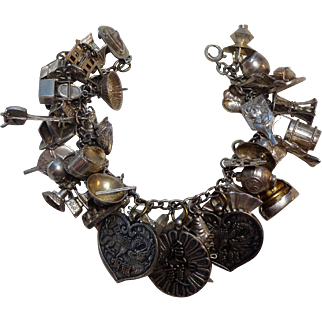 Amazing 1930's Chinese Silver Loaded Charm Bracelet 42 Charms